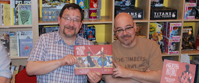 Rick Burchett and Greg Rucka with Lady Sabre and the Pirates of the Ineffable Aether