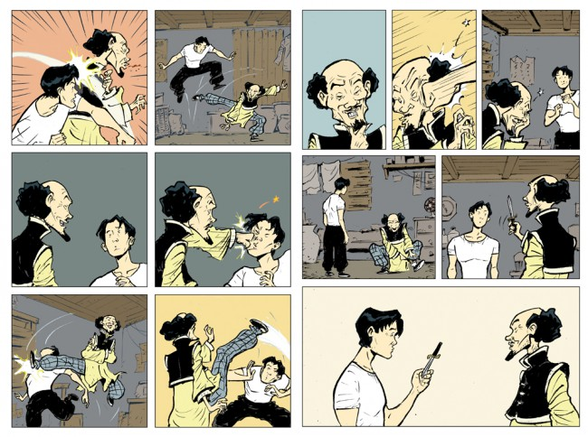 Sonny Liew's pages with colour flatting (The Shadow Hero)