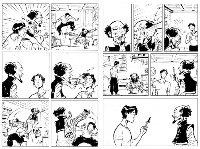 Sonny Liew's inked pages for The Shadow Hero