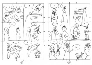 Gene Luen Yang's thumbnails for The Shadow Hero