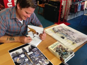 Farel Dalrymple signing copies of The Wrenchies at the Floating World Comics release party