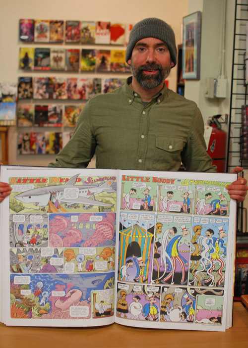 Craig Thompson with his Little Nemo pages