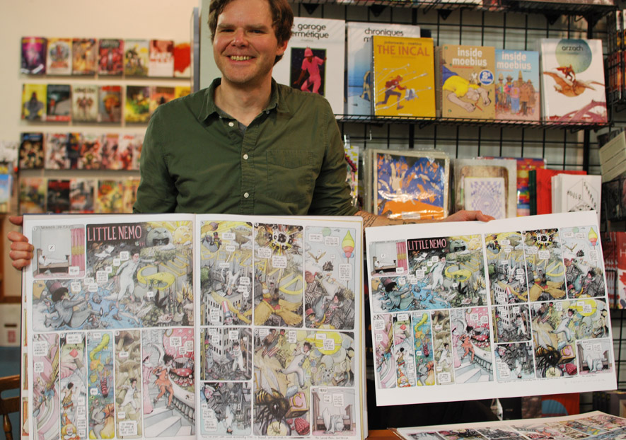 Farel Dalrymple with his Little Nemo pages