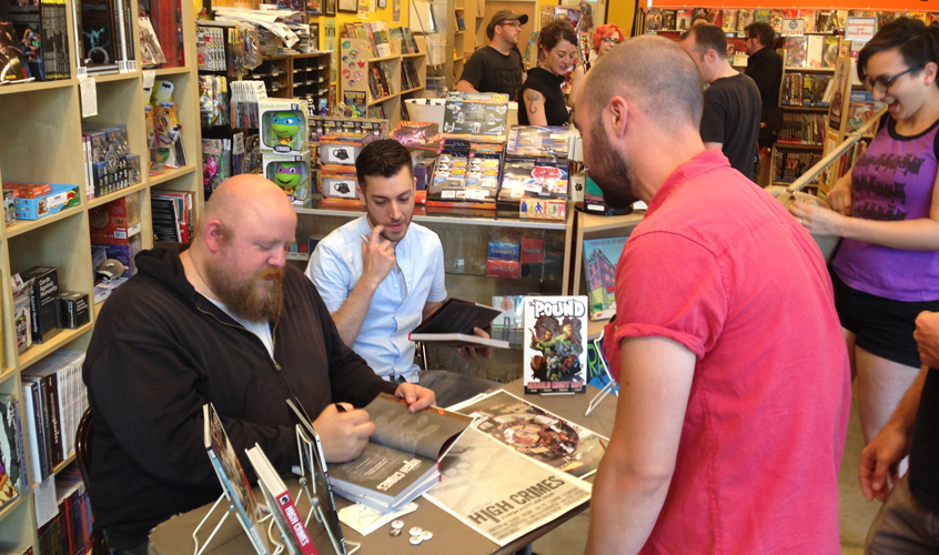 Christoper Sebela and Ibrahim Moustafa signing High Crimes (Dark Horse Comics)